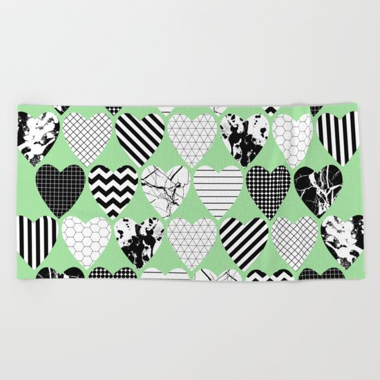 Hearts On Pastel Green - Abstract, black and white, geometric Beach Towel