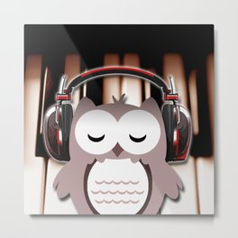 Cartoon Owl Listening to Music Piano Keys Metal Print