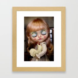 Maja and her rooster Framed Art Print