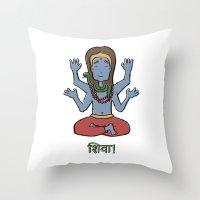 shiva Throw Pillows featuring shiva by Schmucky Duck