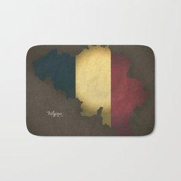 Belgium map special vintage artwork style with flag illustration Bath Mat