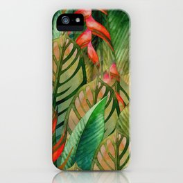 Painted Jungle Leaves 2 iPhone Case