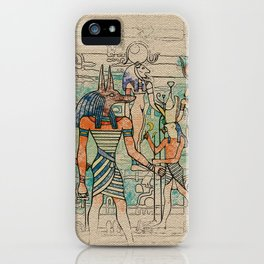 Egyptian Gods on canvas iPhone Case