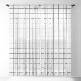 Grid in White/Black Sheer Curtain