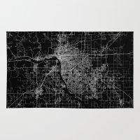 oklahoma Area & Throw Rugs featuring Tulsa map Oklahoma by Line Line Lines