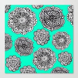 aqua mandala maze  Canvas Print