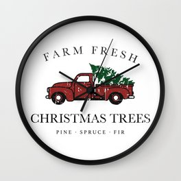 Christmas Tree Farm Vintage Truck Wall Clock