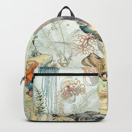 Ocean by Adolphe Millot // XL 19th Century Starfish Jellyfish Coral Reef Science Textbook Artwork Backpack