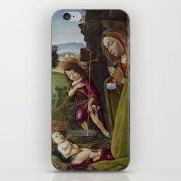 "Sandro Botticelli ""Adoration of Christ with Saint John"" iPhone Skin"