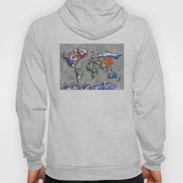 world map with flags Hoody