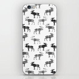 Moose Trot // Black & White Plaid iPhone Skin