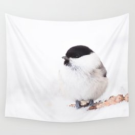 Cute Willow Tit sitting in the snow #decor #buyart #society6 Wall Tapestry