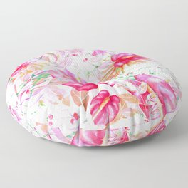 Tropical red pink orange watercolor floral pattern Floor Pillow