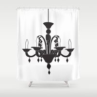chandelier Shower Curtains featuring Chandelier by Sally Elizabeth