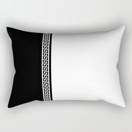 Greek Key 2 - White and Black Rectangular Pillow