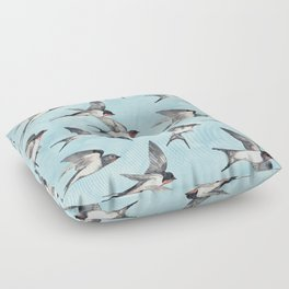 Blue Sky Swallow Flight Floor Pillow