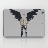 castiel iPad Cases featuring Castiel by Rebecca McGoran