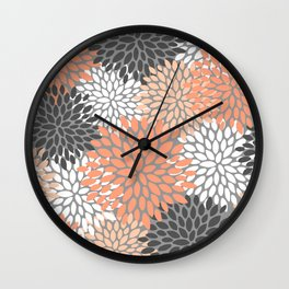 Floral Pattern, Coral, Gray, White Wall Clock