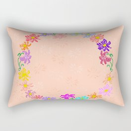 Wreath from abstract flowers with background Rectangular Pillow