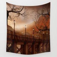 asian Wall Tapestries featuring Asian Bridge by FantasyArtDesigns