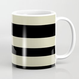 Natural Olive Green - Martinique Dawn - Asian Silk Hand Drawn Fat Horizontal Lines on Black Coffee Mug