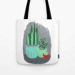House Plants jade plant cactus snake plant Tote Bag