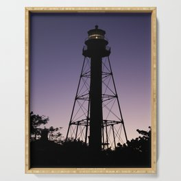 Sanibel Island Lighthouse Sunset Serving Tray