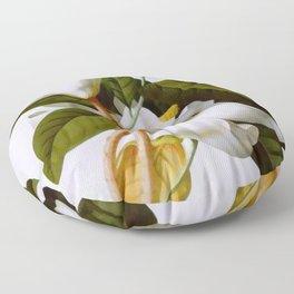 Vintage Botanical White Magnolia Flower Art Floor Pillow