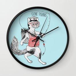 Cat gone Fishing Wall Clock