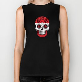 Sugar Skull with Roses and Flag of Austria Biker Tank