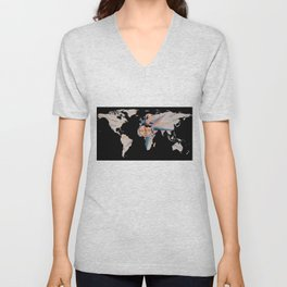 World Map Silhouette - Navigational Compass Unisex V-Neck