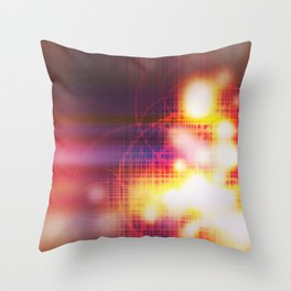 An abstract futuristic background with grid and burns or blast.  Throw Pillow