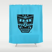 tiki Shower Curtains featuring Tiki by Nick Salmon