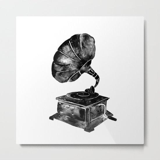 GRAMOPHONE, black and white Metal Print