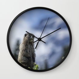 Marmot Checking Out His Neighborhood at Mount Rainier, No. 3 Wall Clock