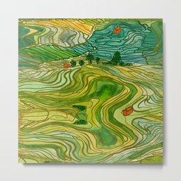 Terraced Rice Paddy Fields Metal Print