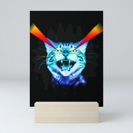 Crazy screaming blue cat with laser vision. Mini Art Print
