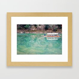 Riding Around Arashiyama, Boats and Trees Reflected in the Canals Framed Art Print