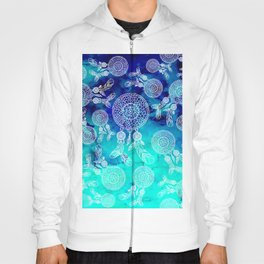 Modern boho white hand drawn dreamcatchers feathers pattern on blue turquoise watercolor Hoody