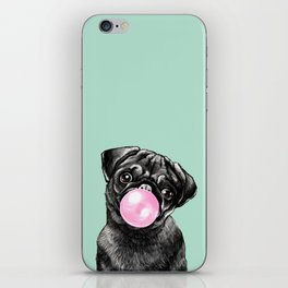 Bubble Gum Black Pug in Green iPhone Skin