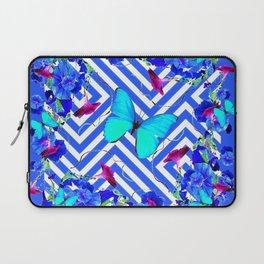 Geometric  Blue Butterflies &  Purple Morning Glories Laptop Sleeve