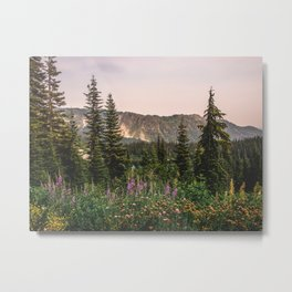 Mount Rainier Wildflower Adventure VII - Pacific Northwest Mountain Forest Wanderlust Metal Print