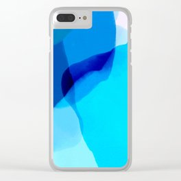 blue winter ice now abstract watercolor Clear iPhone Case