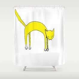 Leaping Coloured Cat Shower Curtain