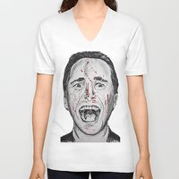 american psycho V-neck T-shirts featuring American Psycho by Haley Erin