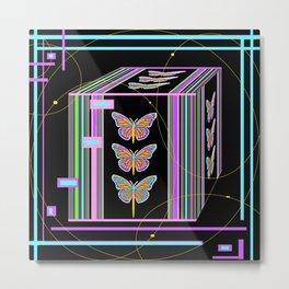 Butterfly Morph Black Box Metal Print