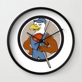 Bald Eagle Plumber Plunger Circle Cartoon Wall Clock