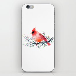 Watercolor red cardinal on berry branch iPhone Skin