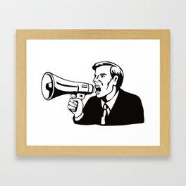 Businessman with Megaphone Bullhorn Framed Art Print
