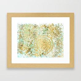 Mint and Gold Radial Splatter Paint Design Framed Art Print